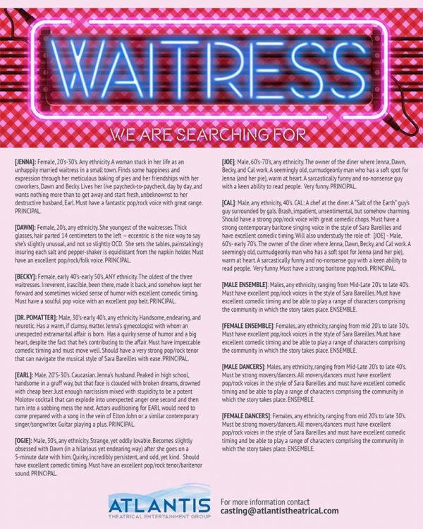 Auditions Announced for ATEG's Waitress!