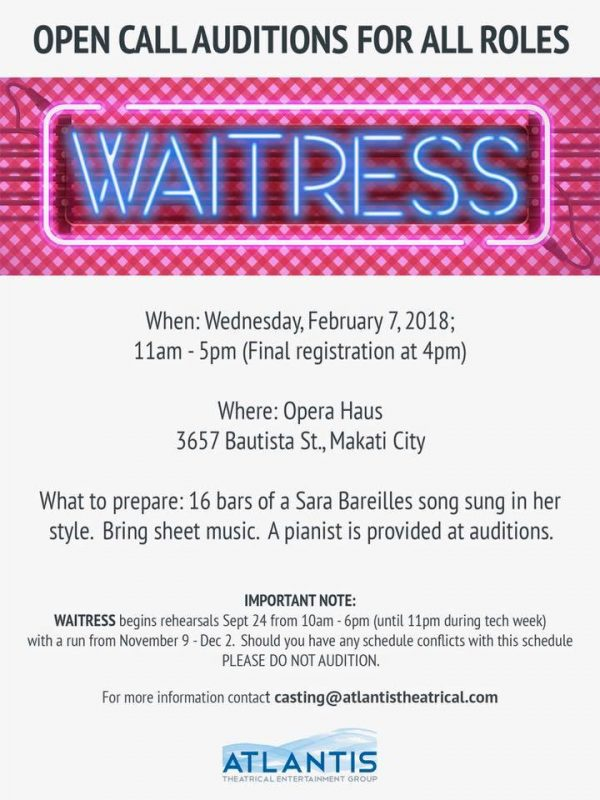 Waitress auditions
