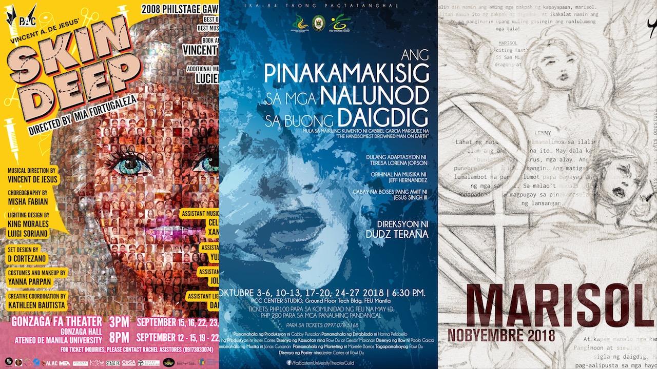Skin Deep, Ateneo blueREP, Ateneo ENTABLADO, Artistang Artlets, FEU Theater Guild, Tanghalang Ateneo