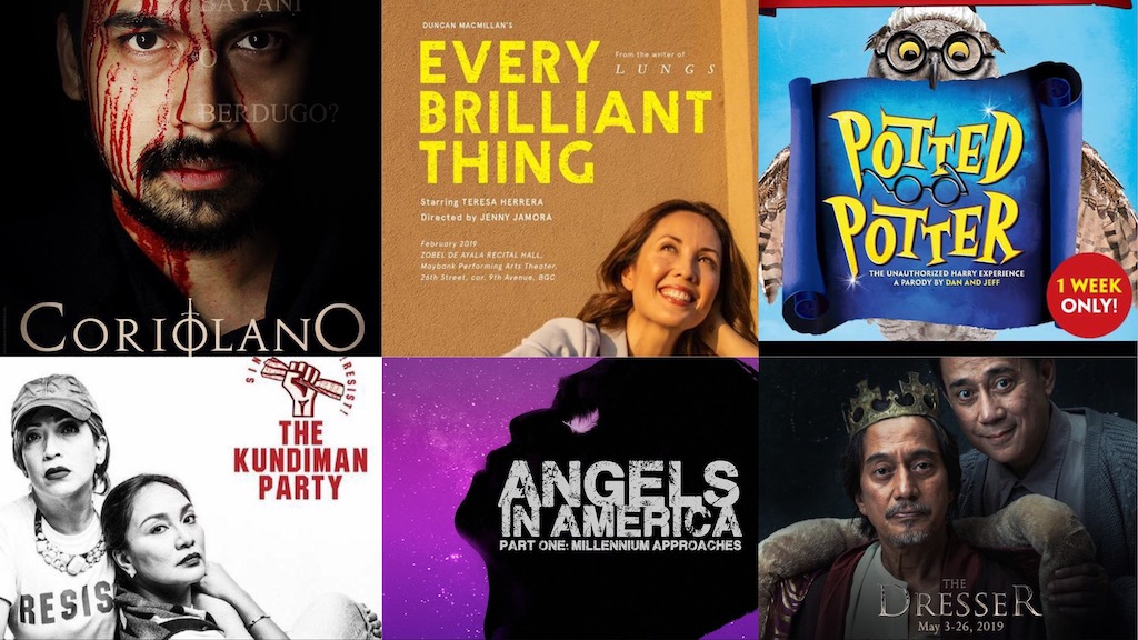 Angels in America, Potted Potter, Coriolano, The Kundiman Party, Every Brilliant Thing, The Dresser