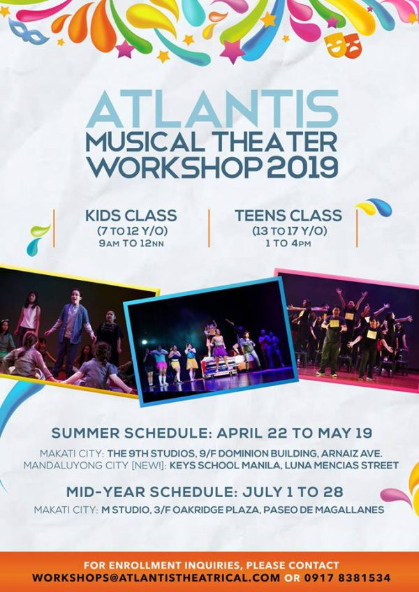 2019 summer theater workshops